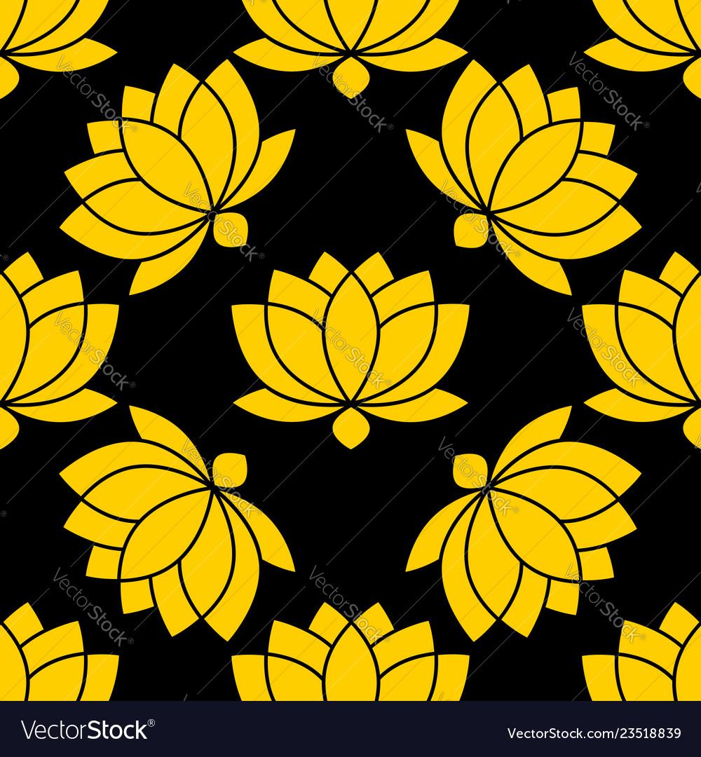 Botanical lotus flower seamless pattern
