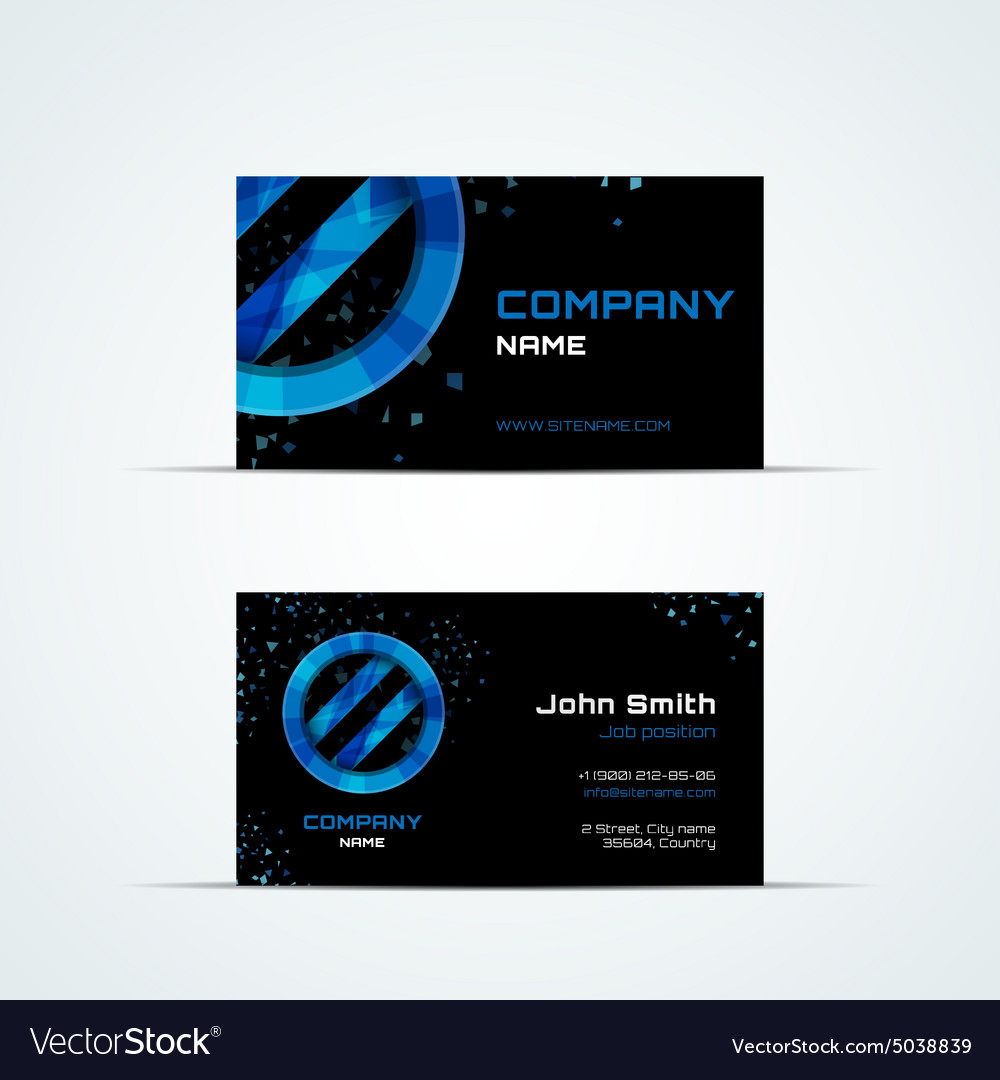 Business card template with blue sign vector image