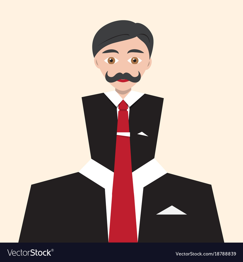 Businessman flat abstract avatar man in suit with