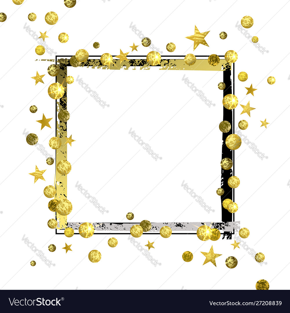 Decorative frame with golden confetti and