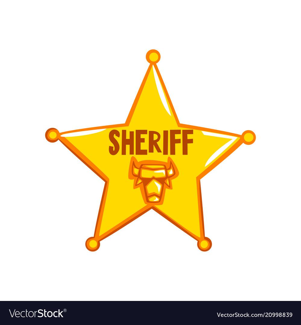 Golden sheriff star badge american justice emblem