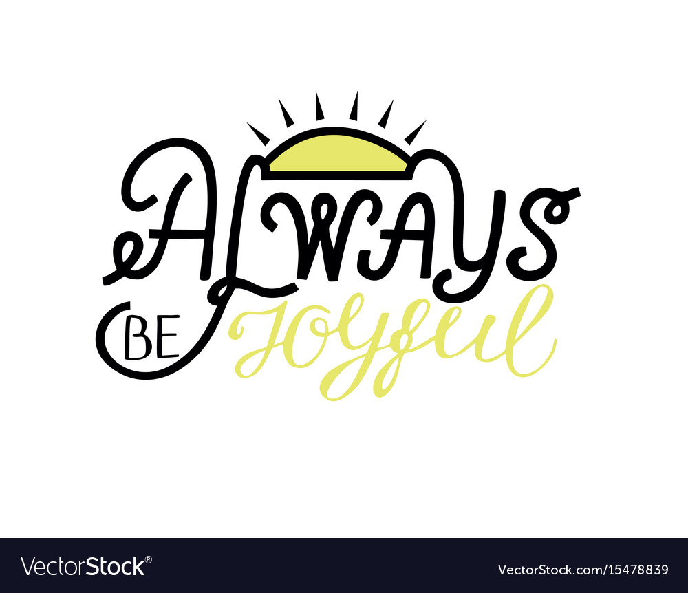 Hand lettering be joyful always vector image