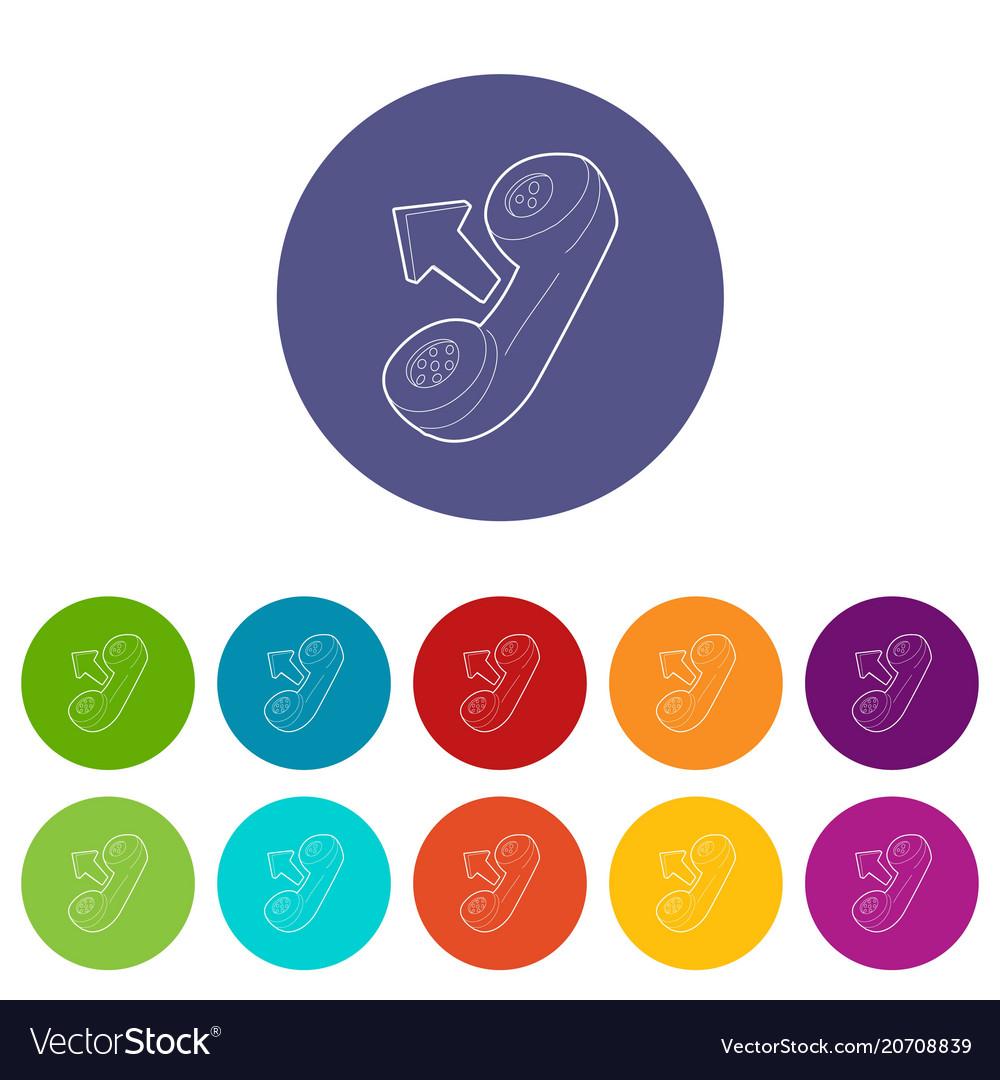 Handset icons set color