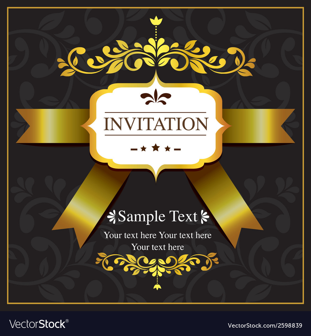 Invitation card black and gold style royalty free vector invitation card black and gold style vector image stopboris Gallery