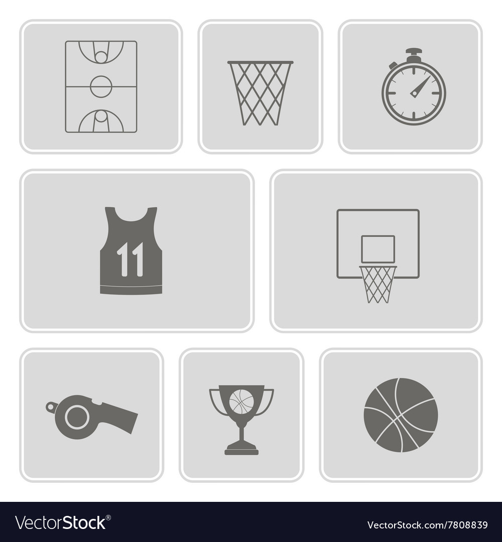 Monochrome set with basketball icons