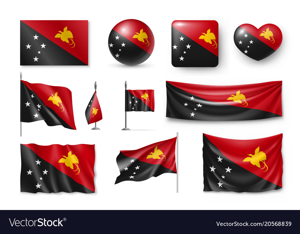 Set papua new guinea realistic flags banners