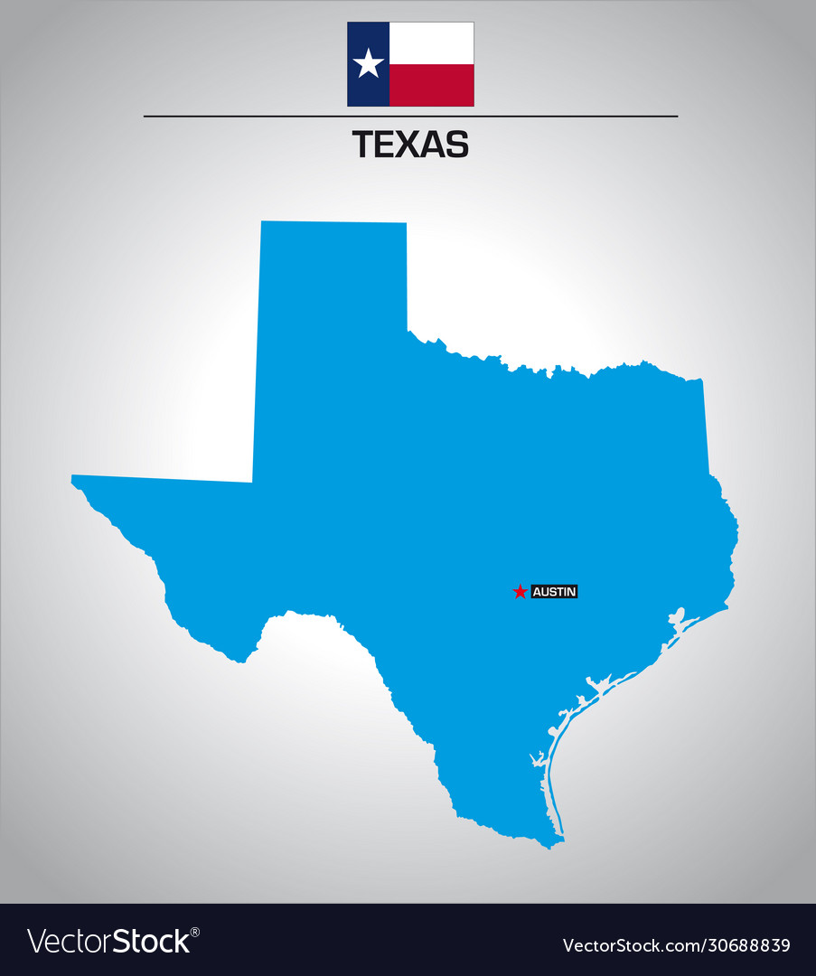 Simple outline map texas with flag