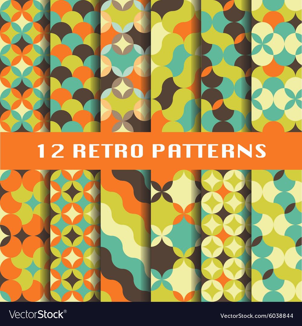 Abstract retro geometric patterns set