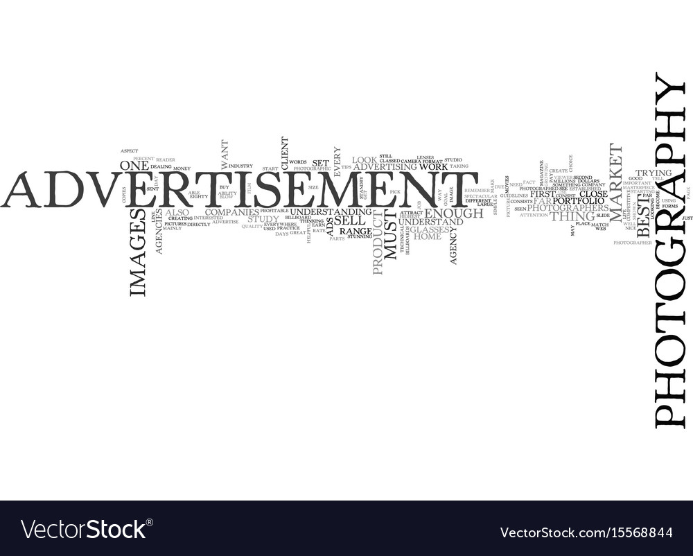 Advertisement photography text word cloud concept