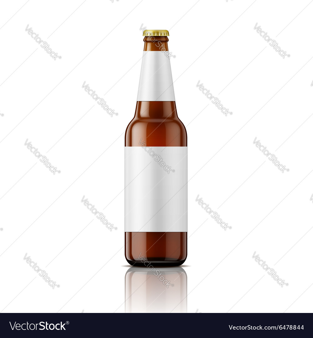 brown beer bottle with labels template royalty free vector