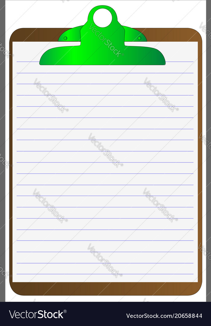 clipboard and lined paper royalty free vector image