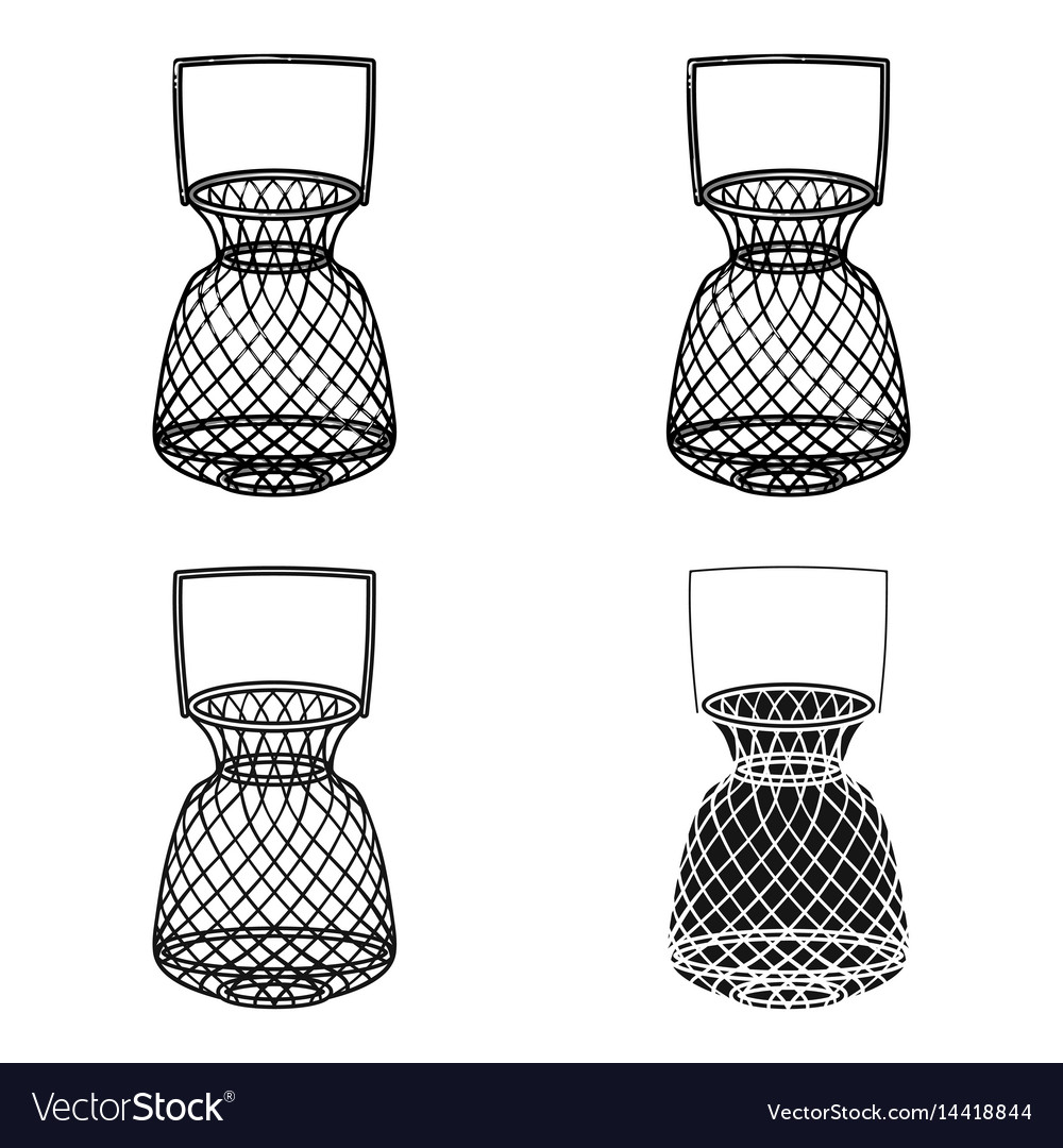 Fishing net icon in cartoon style isolated on