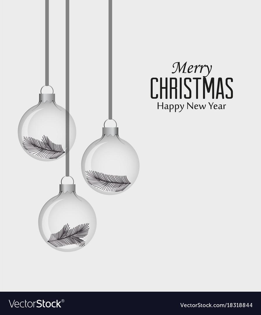 Glass christmas balls vector image