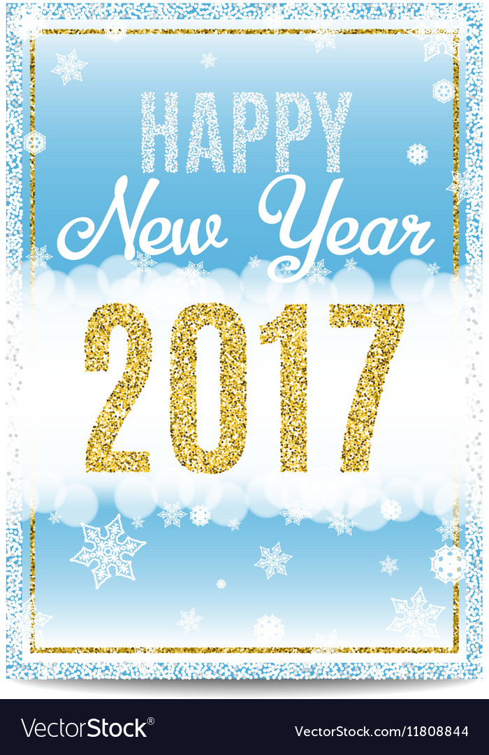 Happy New Year 2017 greeting card golden text and