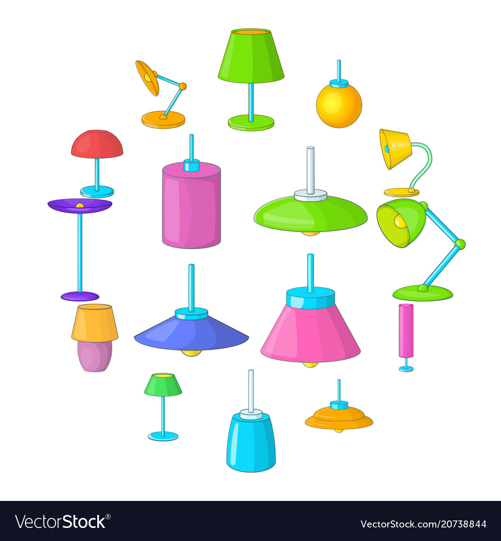 Lamp icons set cartoon style