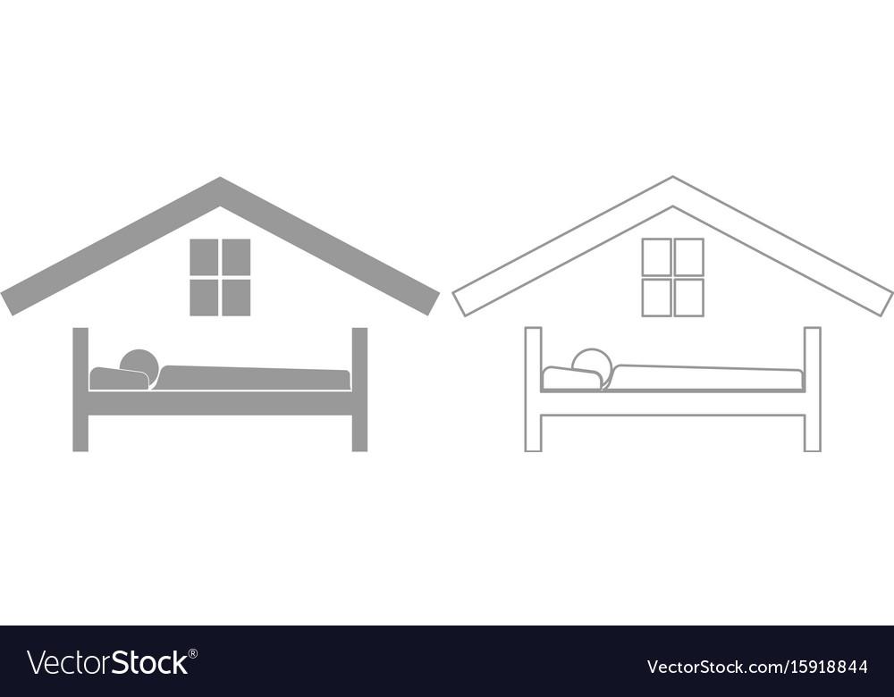 Man in bed hotel grey set icon vector image