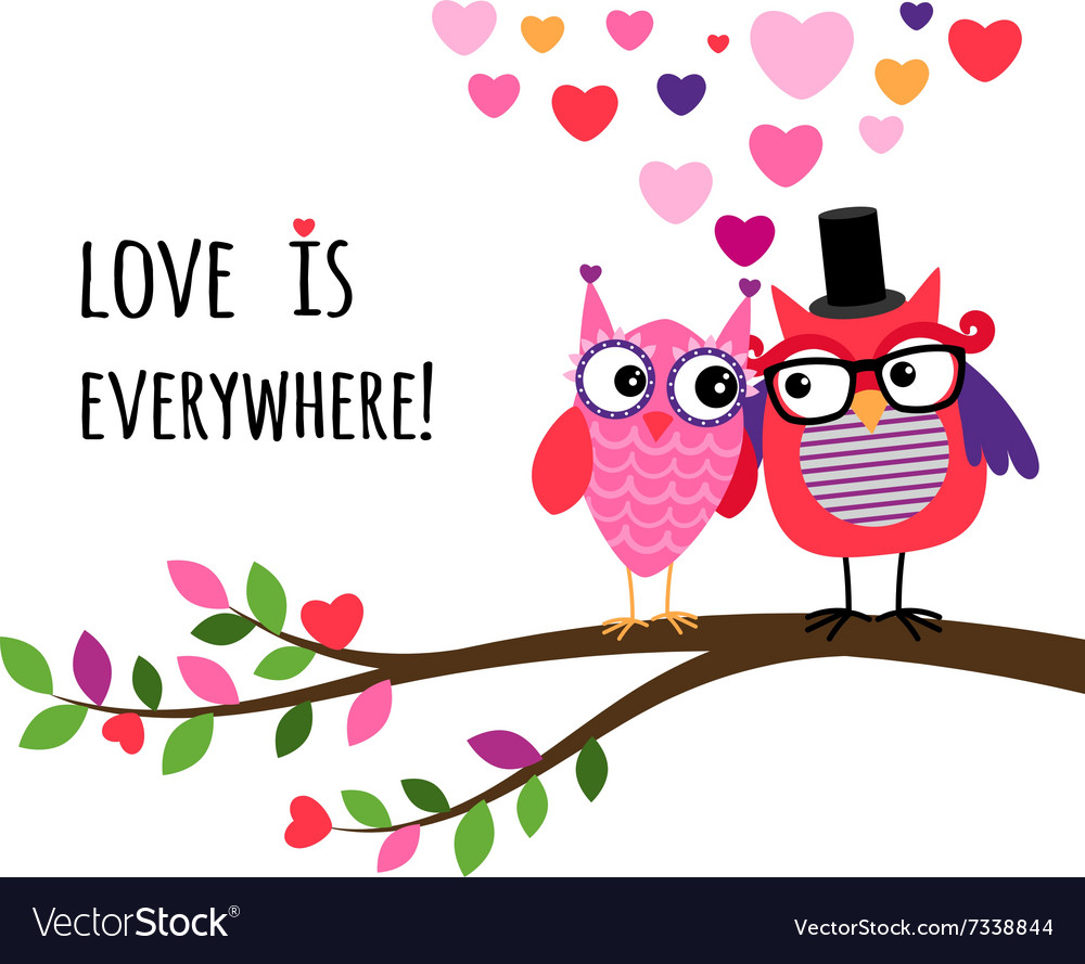 Owl Happy Valentines Day Royalty Free Vector Image