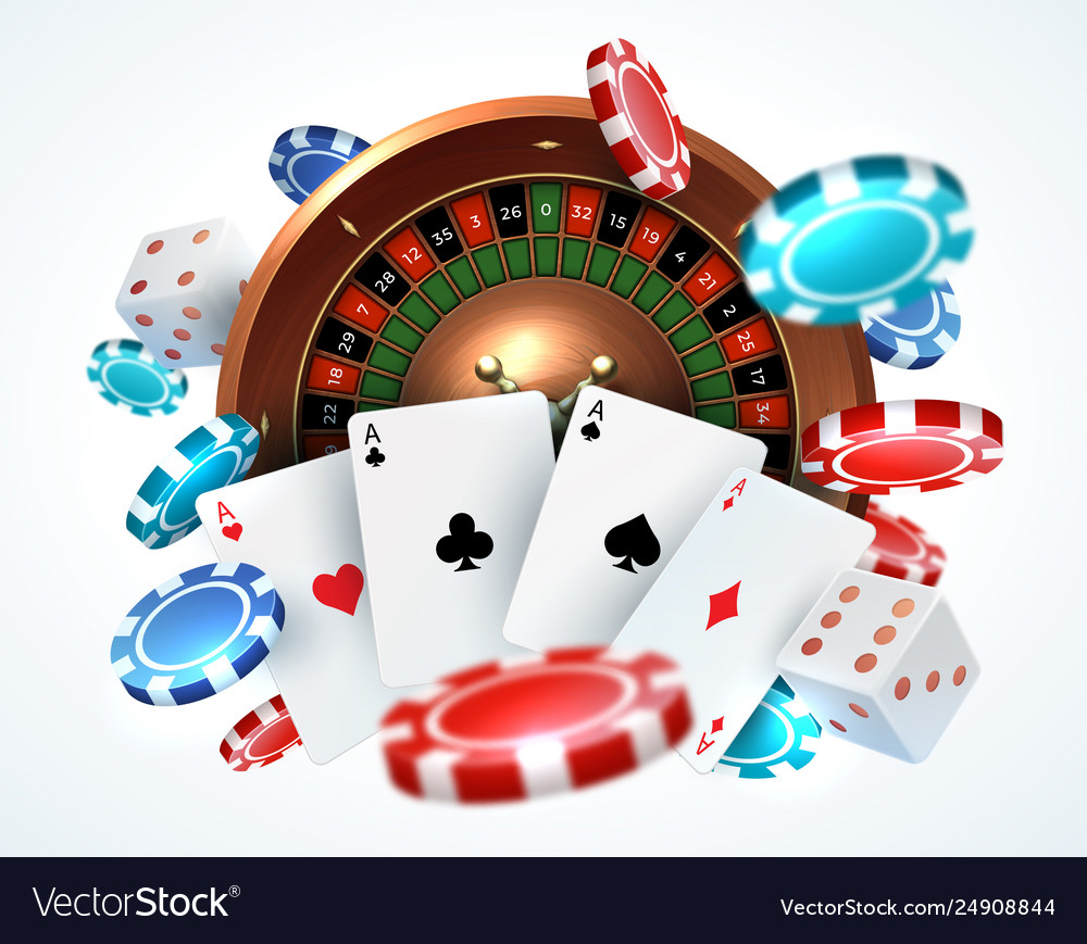 Playing cards poker chips falling dice online