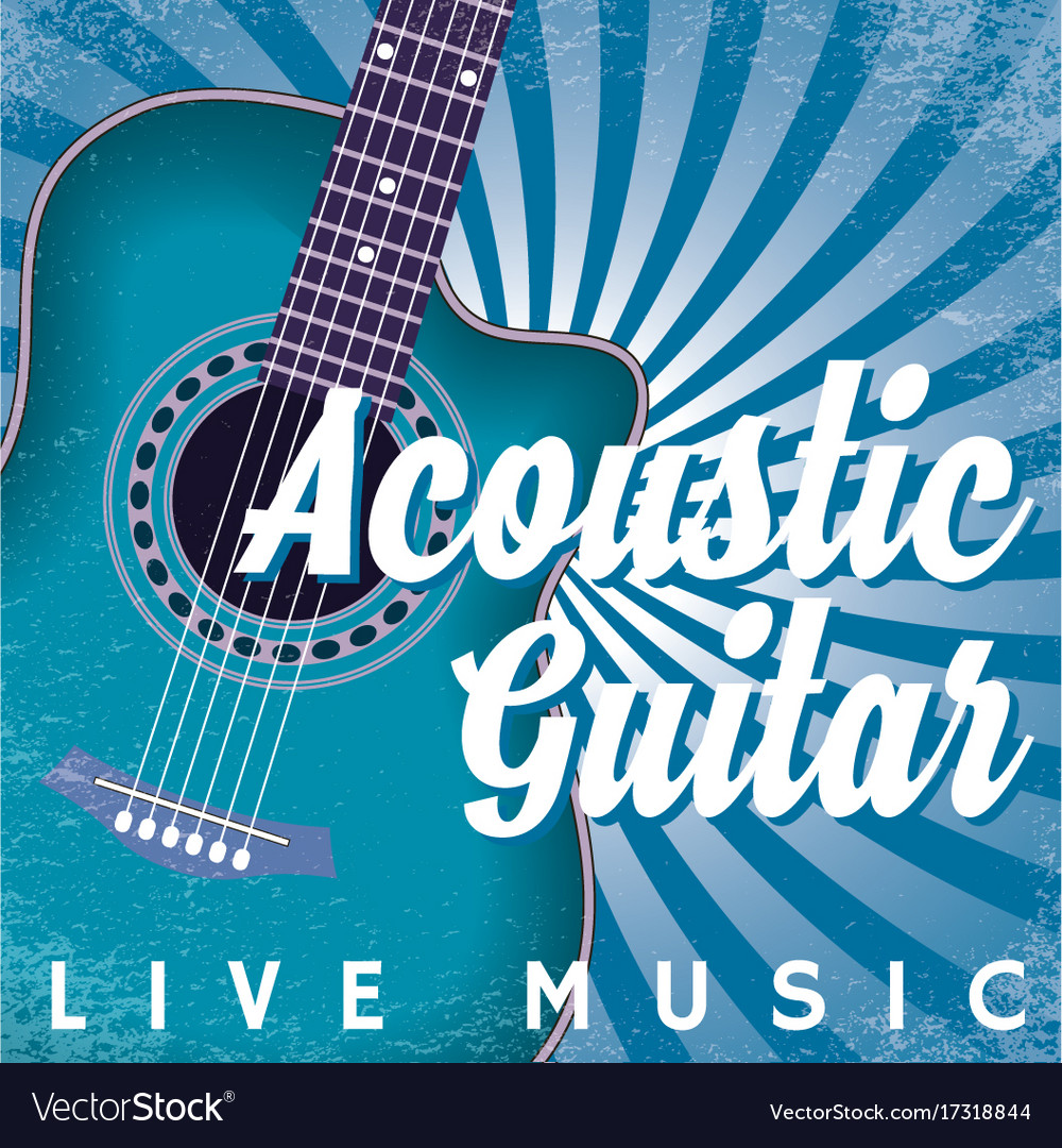 Retro poster with swirls and guitar vector image