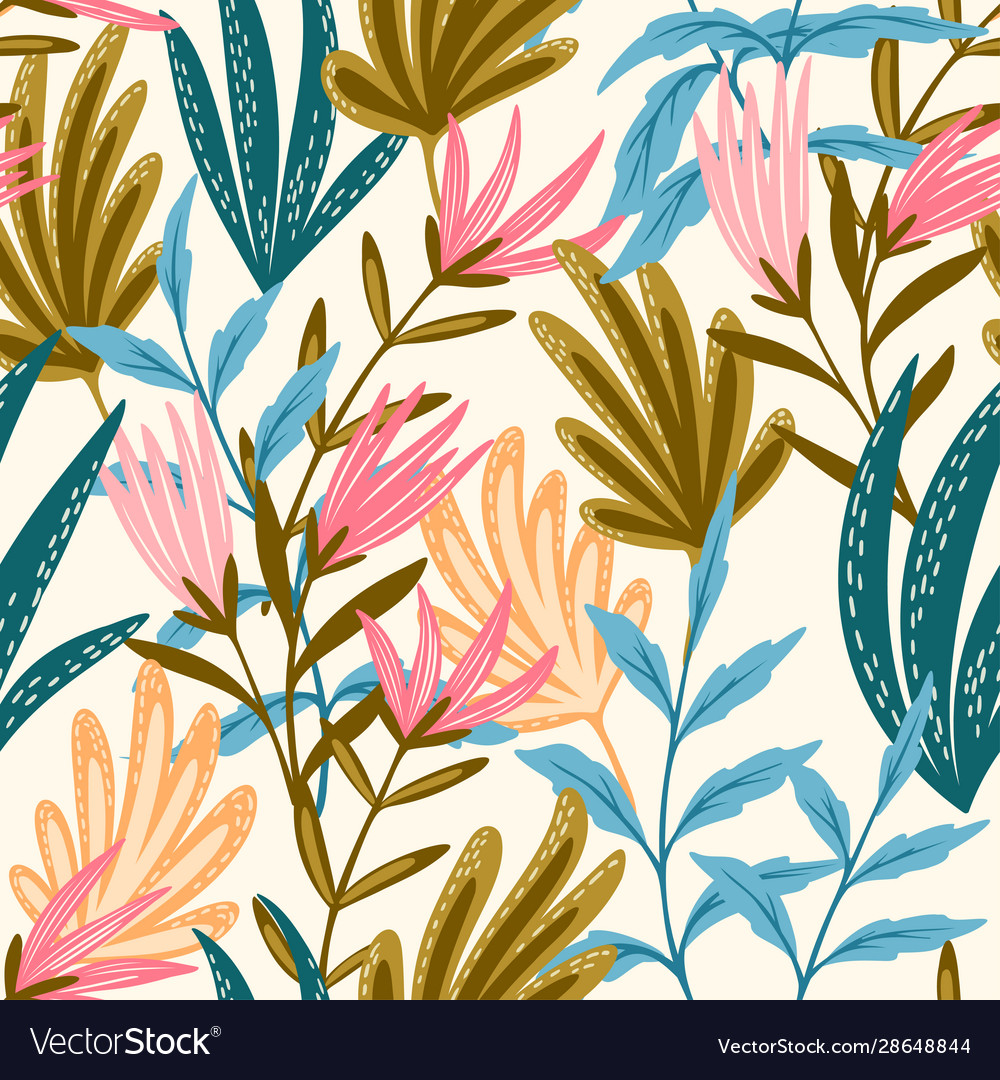 Seamless floral pink and blue