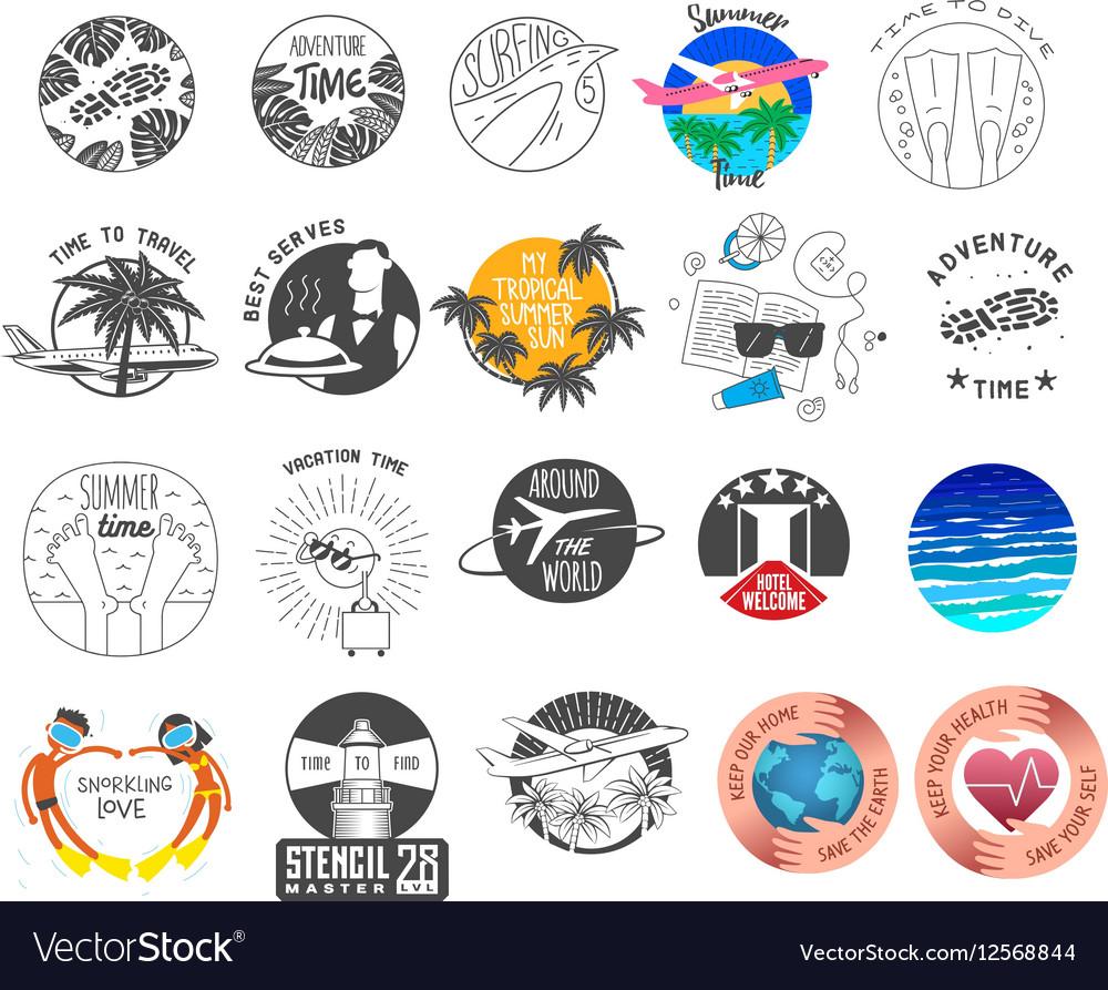 Summer and tourism theme logos set