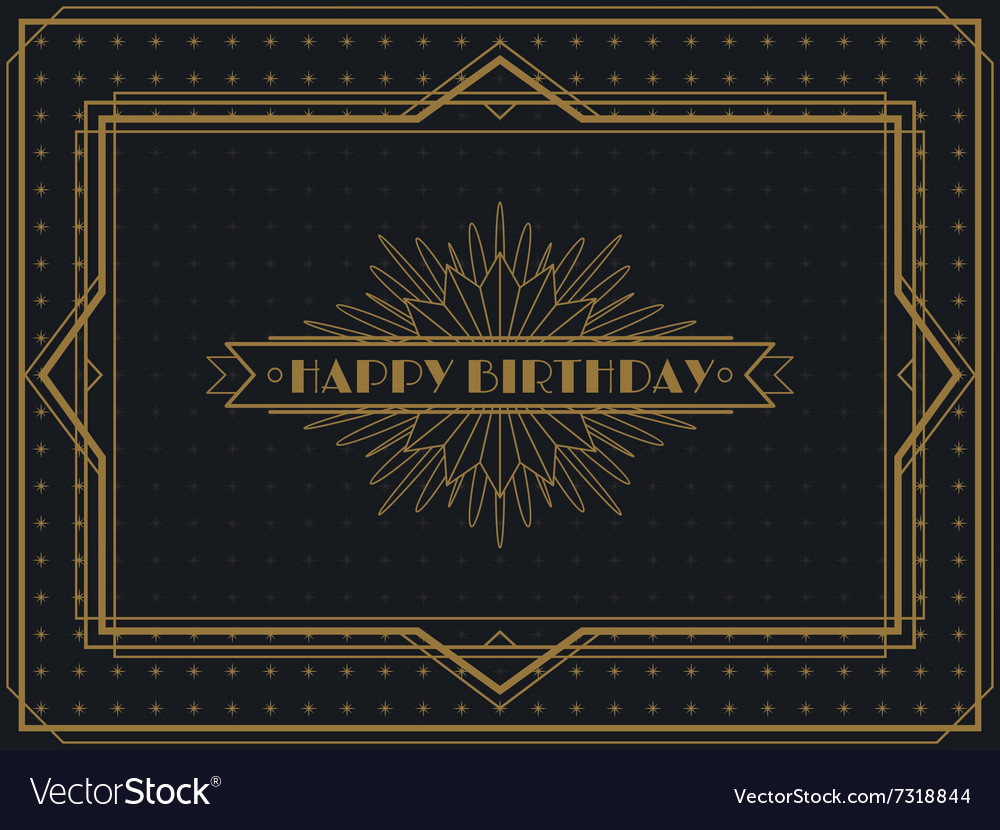 Vintage Art Deco Happy Birthday card frame design