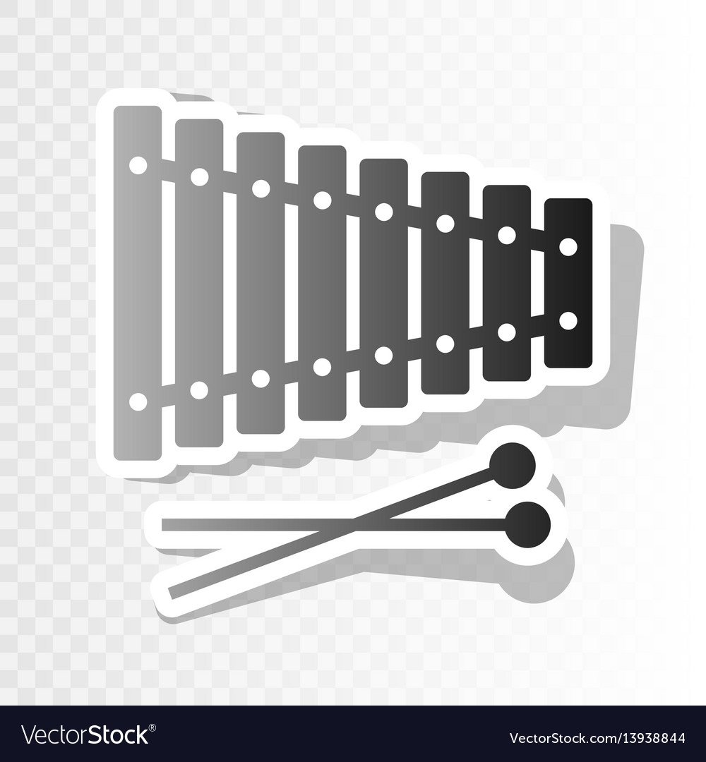 Xylophone sign new year blackish icon on