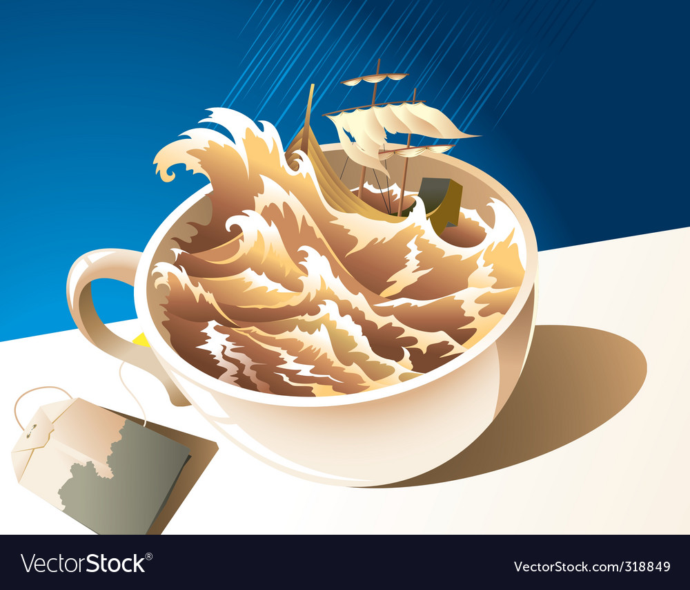 A storm in a teacup vector image
