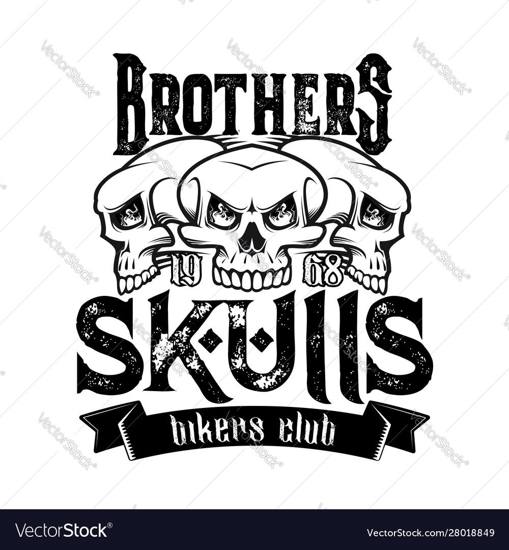 Biker club badge skeleton skull and ribbon