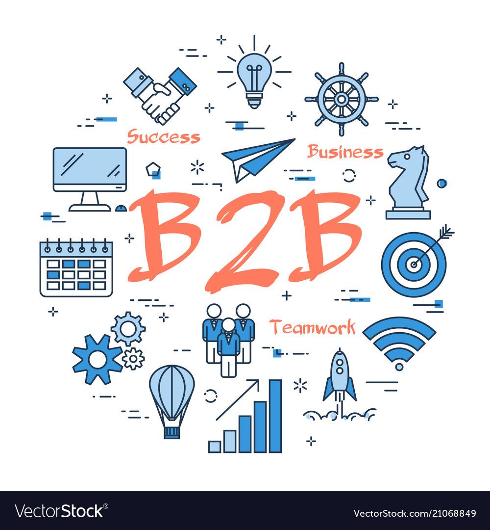 Blue concept of b2b