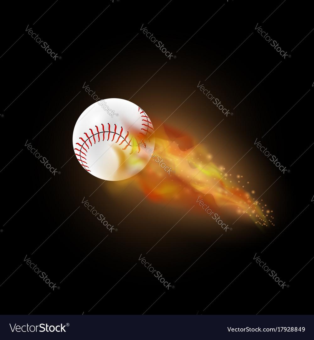 Burning baseball ball with fire flame