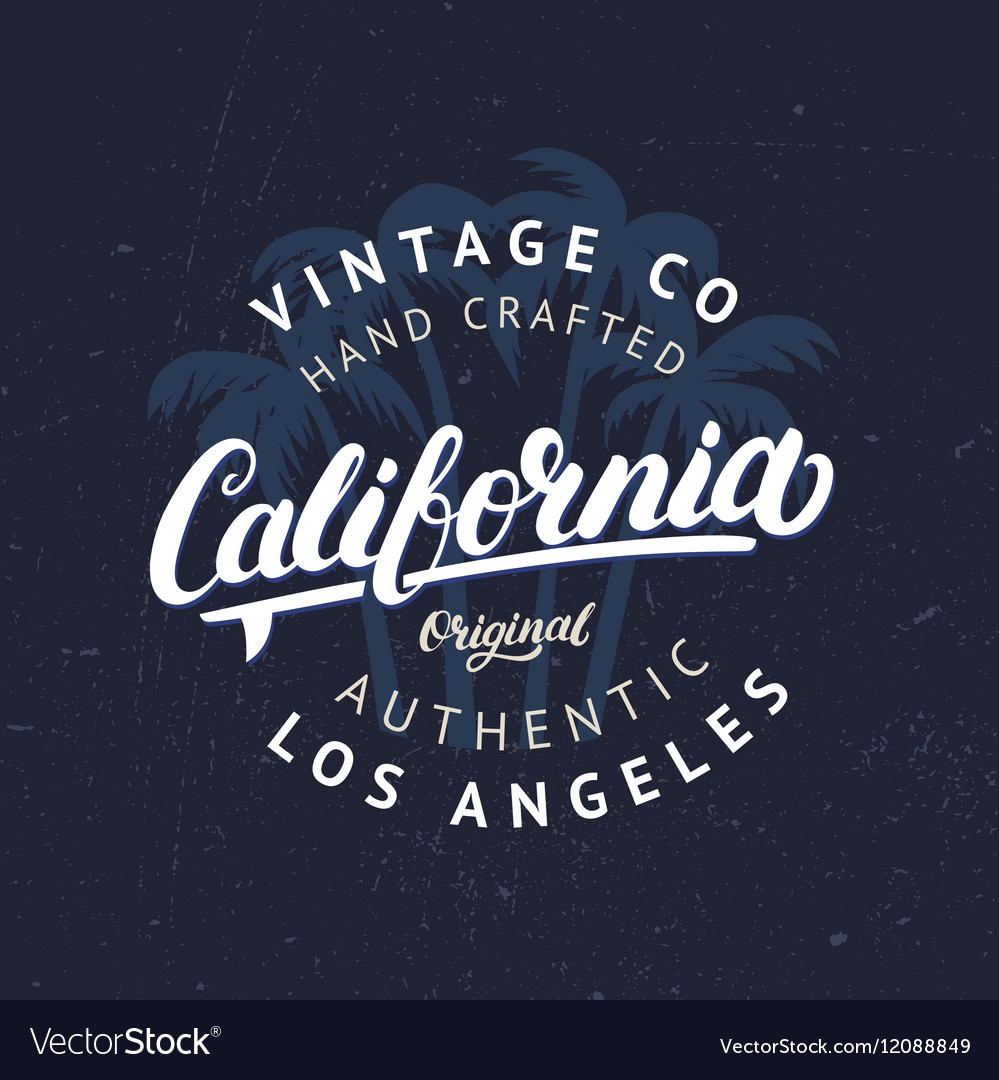 California hand written lettering with palms