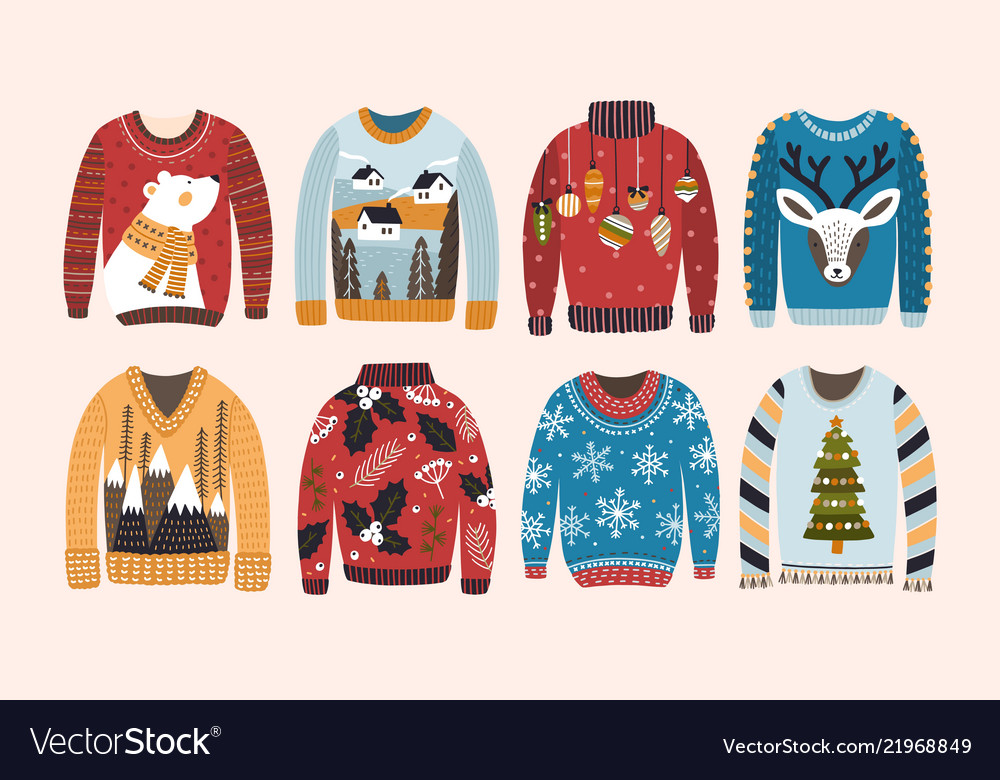 Christmas Jumpers.Collection Of Ugly Christmas Sweaters Or Jumpers