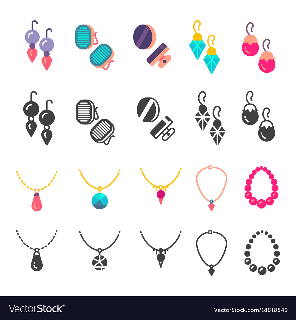 Earrings eardrops and necklace icons