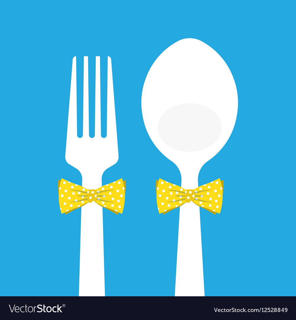 Fork and spoon with butterfly tie on blue vector image