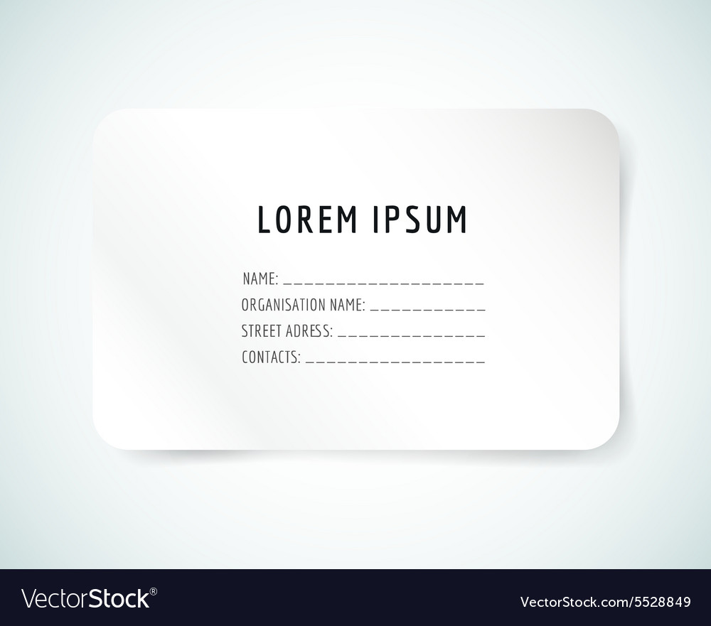 Form Blank Template Business Card Paper And