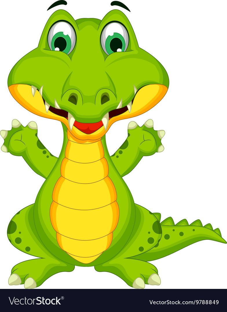 Funny crocodile cartoon posing