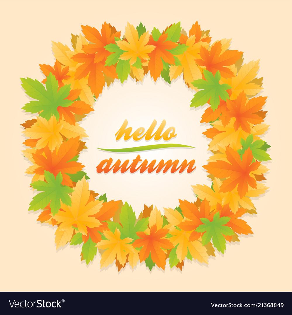 Hello autumn leaves circle banner