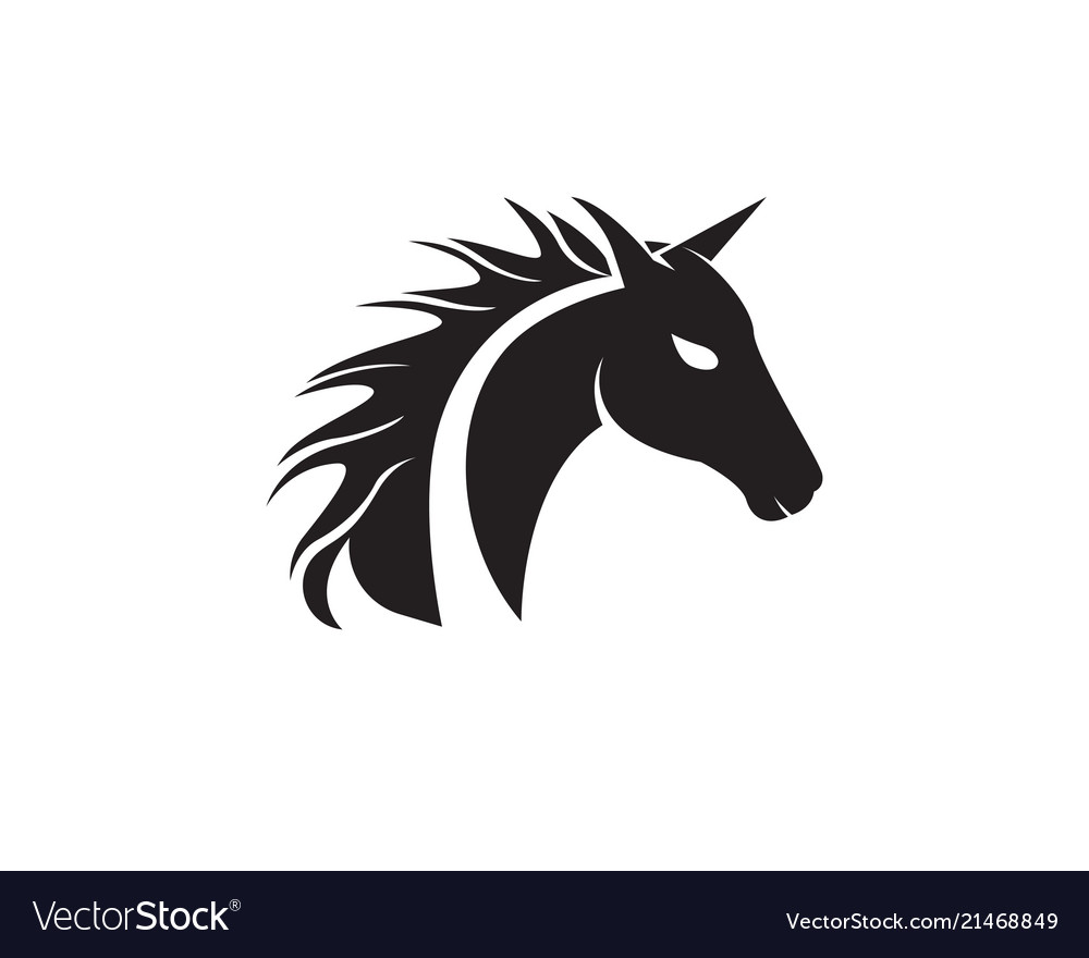 Horse Head Black Logo Template Royalty Free Vector Image