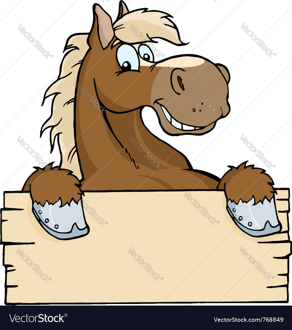 Horse with a blank sign vector image