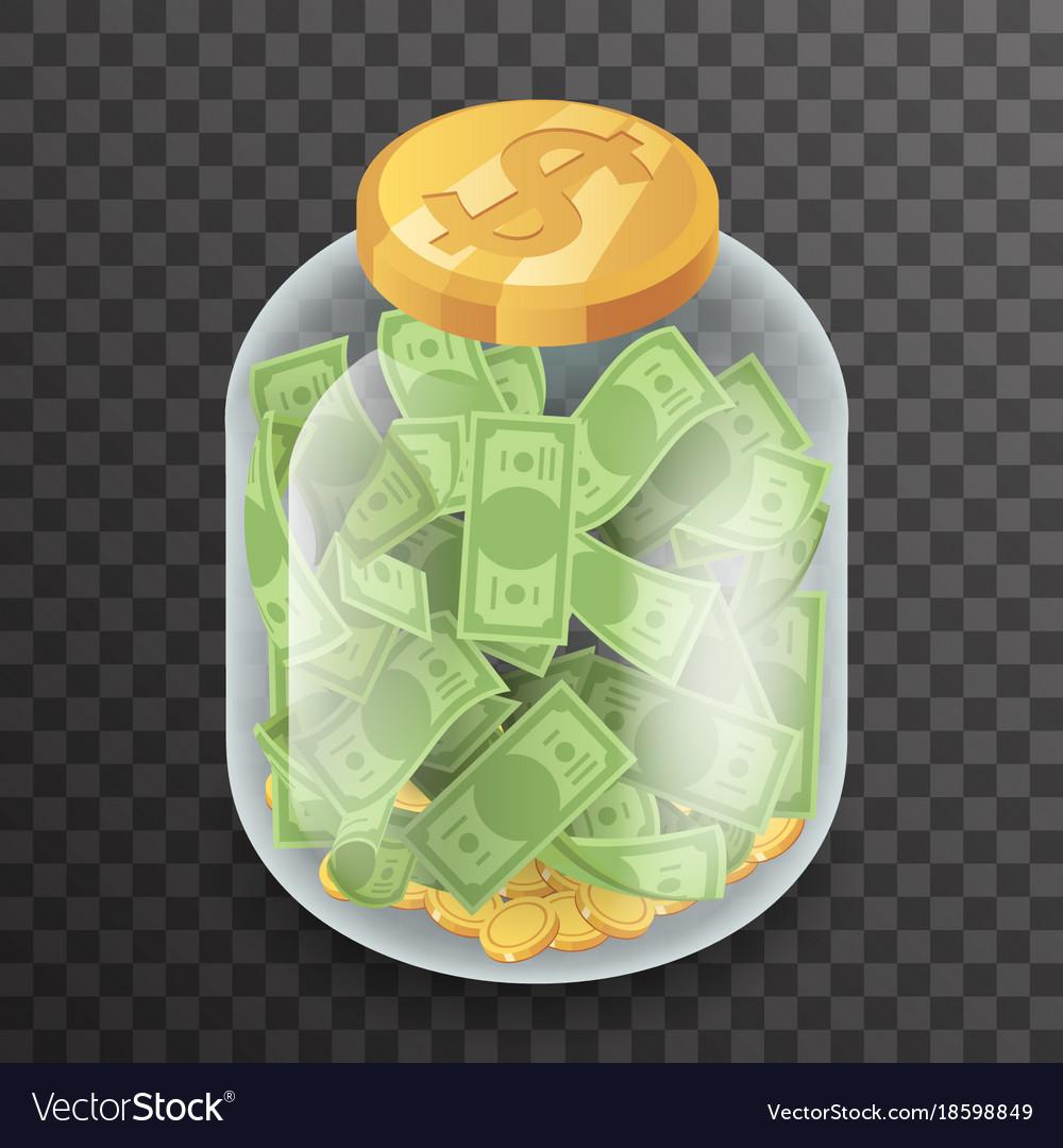 Isometric glass pot jar money saving bank coin vector image