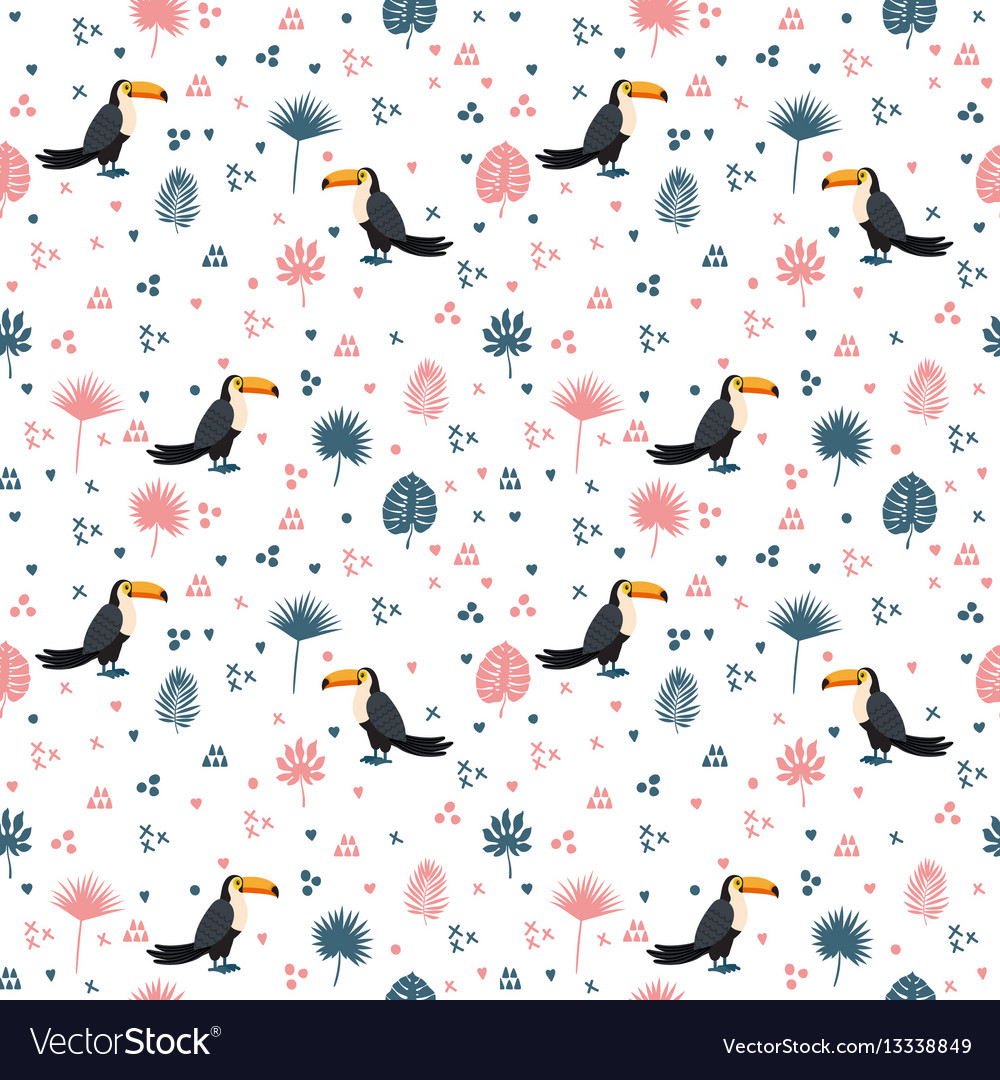 Seamless pattern with toucan and leaves cute