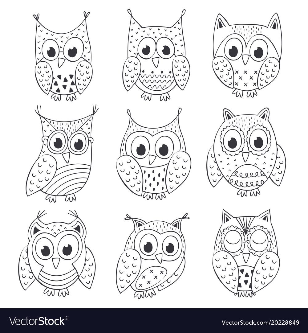 Set of isolated funny owls black and white