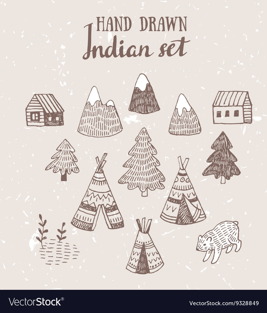 Set of North American Indian tipi homes with