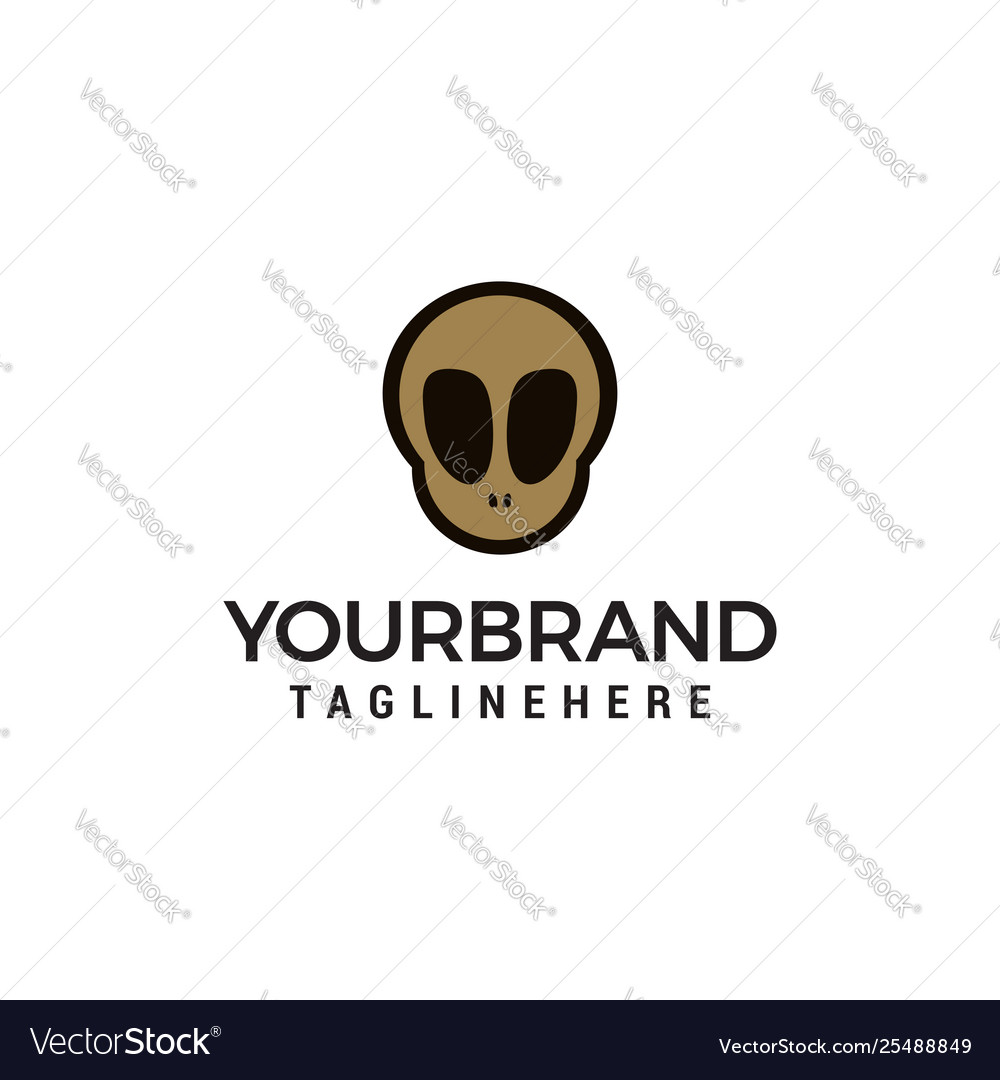 Skull logo in trendy flat style design concept