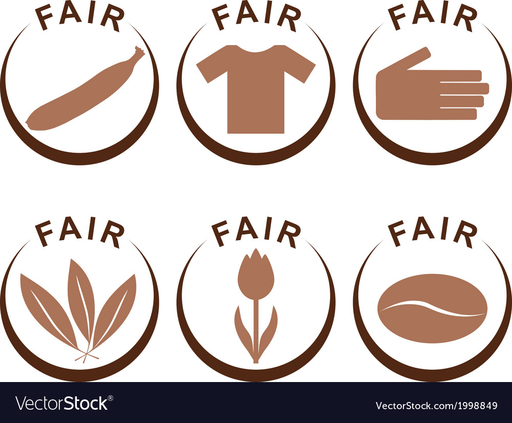 Symbols And Products Of Fair Trade Royalty Free Vector Image