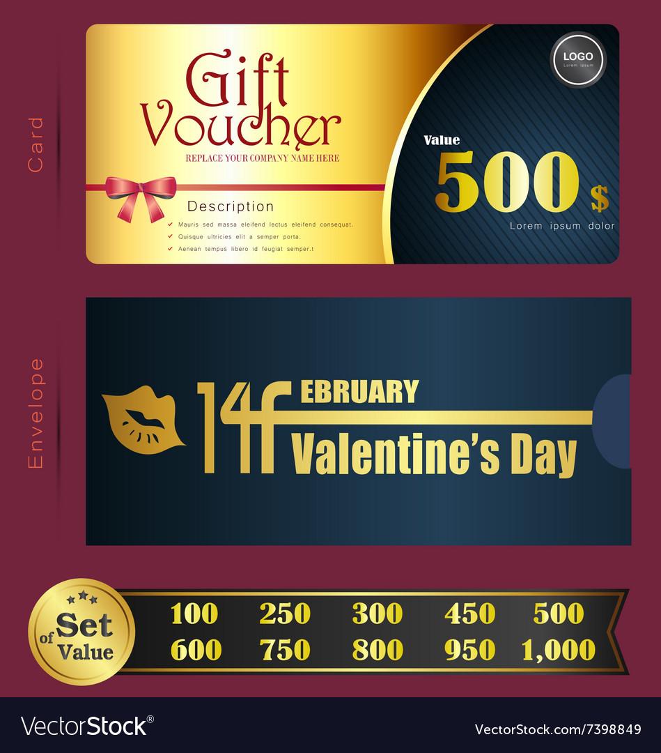 Valentine Day Gift voucher template with premium p
