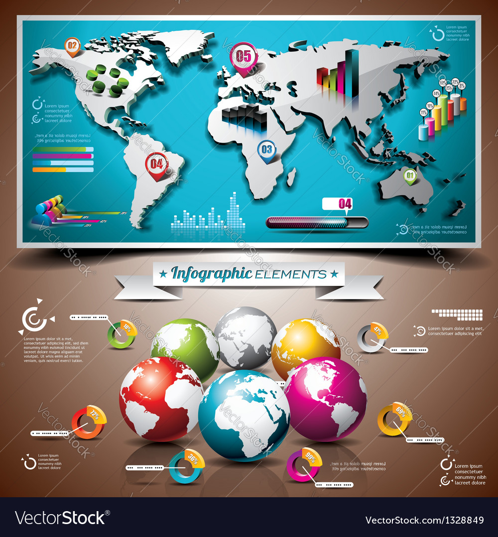 World map design set of infographic elements