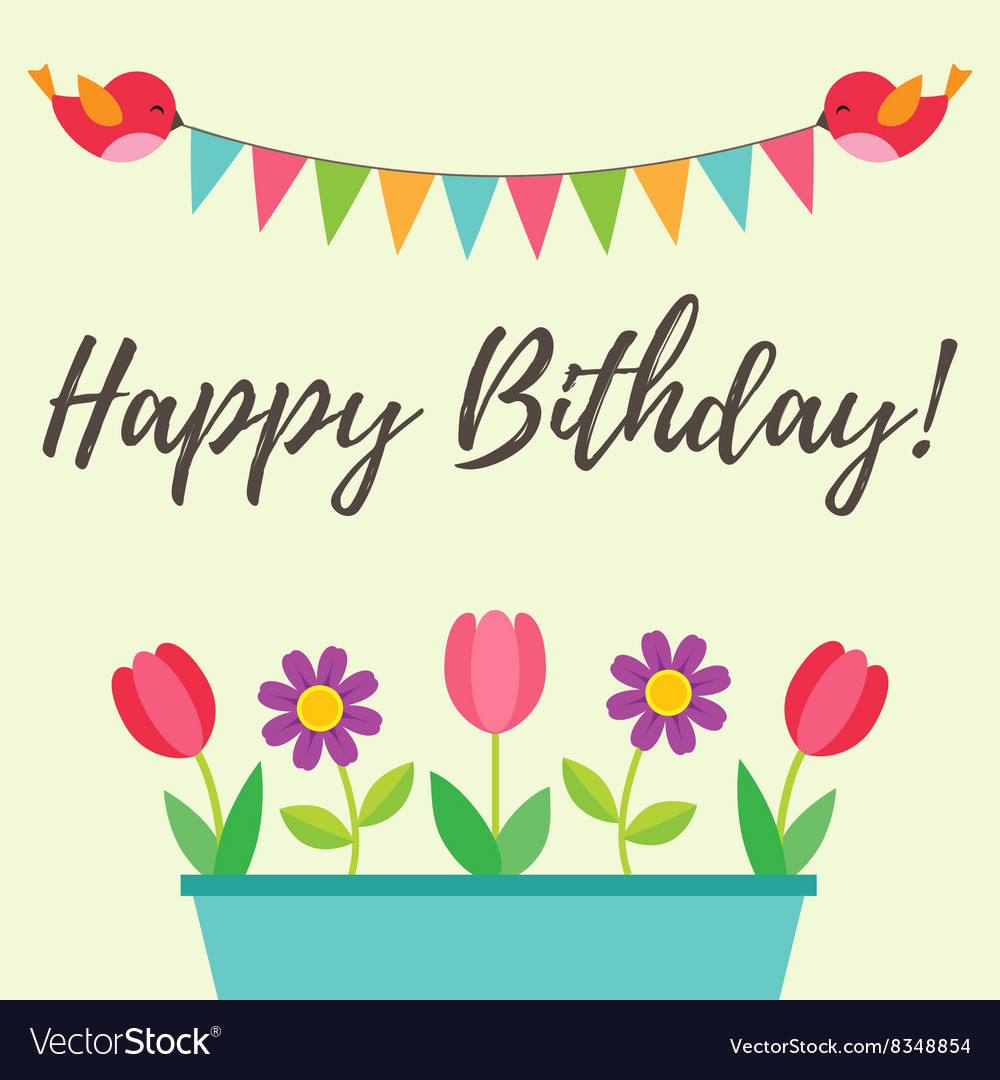 Birthday Card With Birds And Flowers Royalty Free Vector