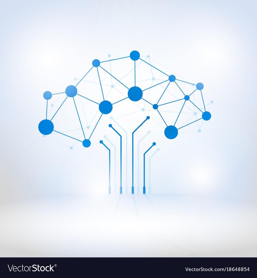 Digital tree made of circuits vector image